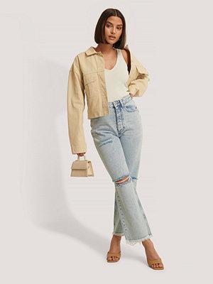 Jeans - NA-KD Trend Slitna Jeans Med Hög Midja blå