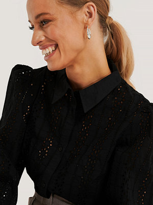 NA-KD Trend Virkad, Långärmad Skjorta svart
