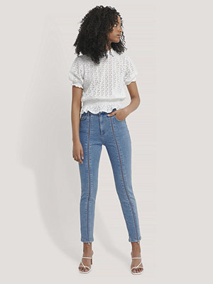 NA-KD Skinny Jeans Med Hög Midja blå
