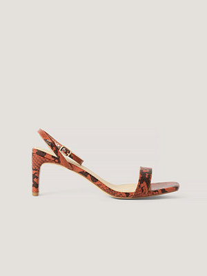 NA-KD Shoes Snake Basic Block Heel Sandals röd