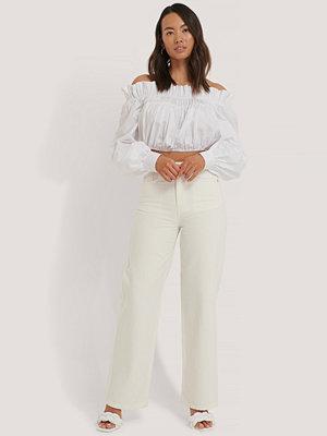 Jeans - NA-KD Trend Denim Med Hög Midja Och Vida Ben offvit