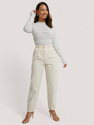NA-KD Reborn Croppade Jeans Med Ballongben vit