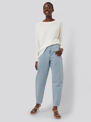 NA-KD Reborn Croppade Jeans Med Ballongben blå