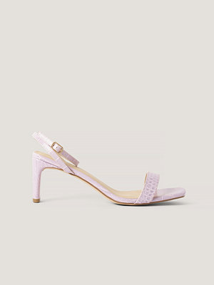 NA-KD Shoes Croc Basic Block Heel Sandals lila