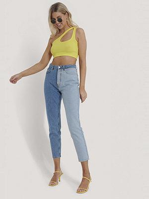 Jeans - NA-KD Tvåfärgad Denim Med Hög Midja blå
