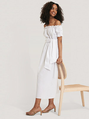 Glamorous Bardot Tie Waist Midi Dress vit