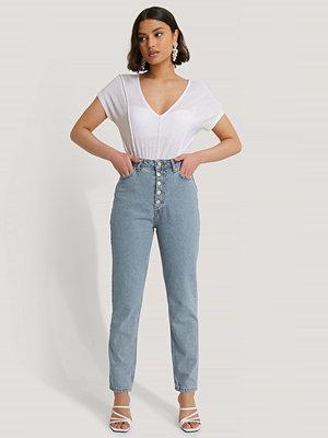 Jeans - Trendyol Skinny Jeans Med Hög Midja Och Knappar Fram blå