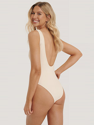 NA-KD Swimwear High Leg Swimsuit beige