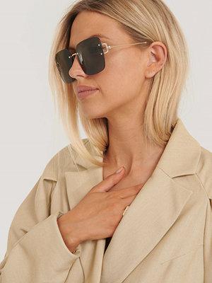 Solglasögon - NA-KD Accessories Oversize Fyrkantiga Retrosolglasögon grön