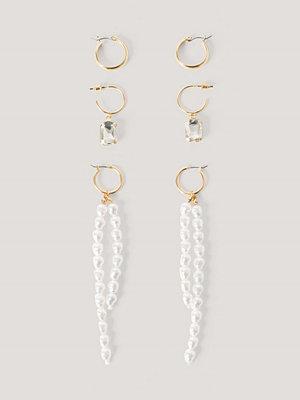 NA-KD Accessories smycke Flerpack Långa Pärldroppörhängen guld