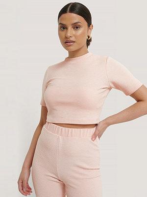 NA-KD Ribbad, Croppad T-Shirt rosa