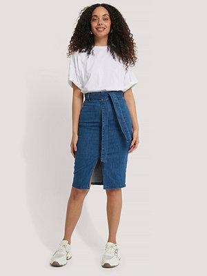 Kjolar - NA-KD Trend Belted Midi Denim Skirt blå