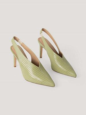 NA-KD Shoes Slingback Pumps Med Sömdetaljer grön