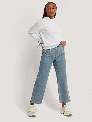 NA-KD Reborn Ekologiska Jeans I Ekologisk Bomull Med Veckdetalj blå