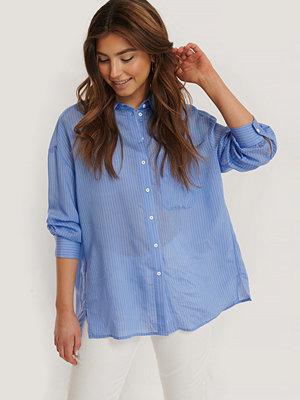 Mango Oversize Skjorta blå