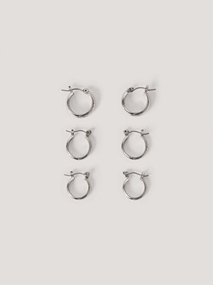 NA-KD Accessories smycke 3-Pack Tjocka Basic Hoops silver