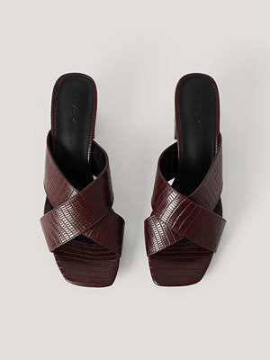 NA-KD Shoes Mules-Sandal Med Korsade Band brun