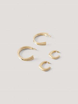 NA-KD Accessories smycke Dubbelpack Matta, Ojämna Hoops guld