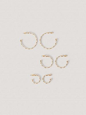 NA-KD Accessories smycke Flerpack Tvåtonade Hoopörhängen vit guld
