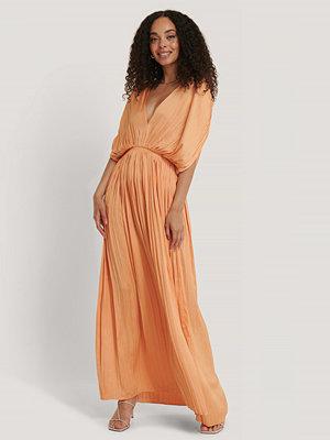 Mango Plisserad Maxiklänning orange