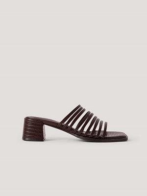NA-KD Shoes Sandaler Med Blockklack Och Många Remmar brun