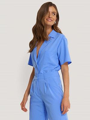 NA-KD Trend Skjorta Med Kort Ärm blå
