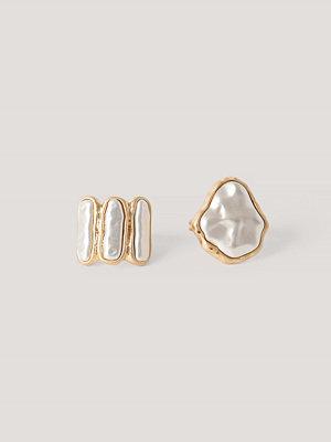 NA-KD Accessories smycke 2-Pack Hamrade Ringar Med Pärldetaljer guld