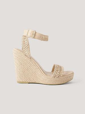 NA-KD Shoes Låga Sandaler Med Remmar Och Sula I Jute beige
