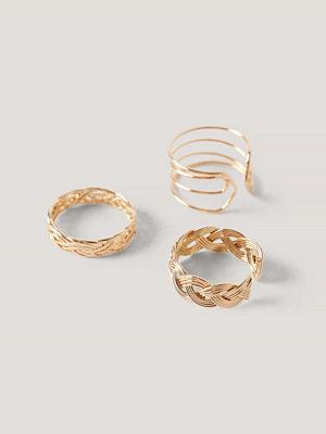 NA-KD Accessories smycke 3-Pack Patterned Rings guld