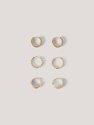 NA-KD Accessories smycke 3-Pack Minihoops Med Mänster guld