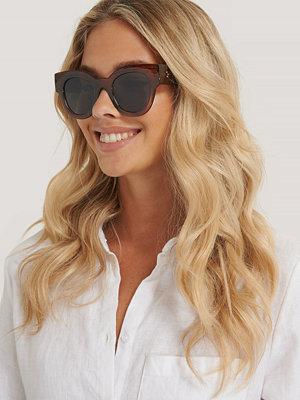 NA-KD Accessories Runda, Chunky Cateyesolglasögon brun