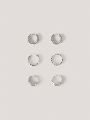 NA-KD Accessories smycke 3-Pack Minihoops Med Mänster silver