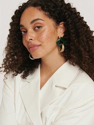 NA-KD Accessories smycke Fyrkantiga Örhängen I Harts grön