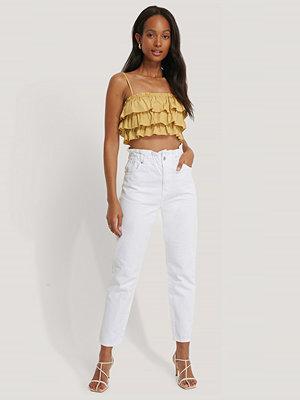 NA-KD Jeans Med Paperwaist vit