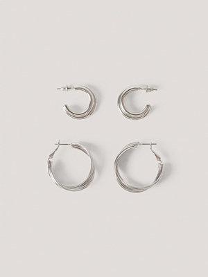 NA-KD Accessories smycke 2-Pack Sammanflätade Hoopörhängen silver