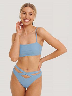NA-KD Swimwear Bikinitrosa Maxi Med Korslagda Band Och Hög Midja blå