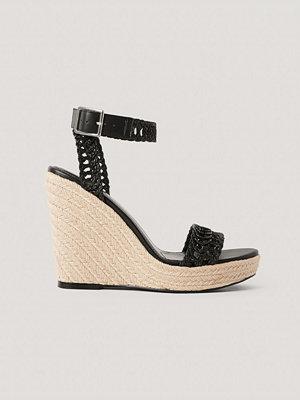 NA-KD Shoes Låga Sandaler Med Remmar Och Sula I Jute svart