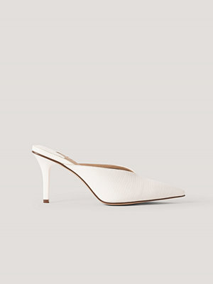 NA-KD Shoes Spetsiga Mules Med Fyrkantig Häl vit