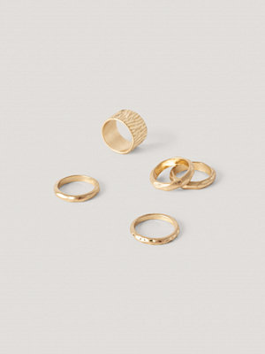 NA-KD Accessories smycke Hamrade Ringar I Flerpack guld