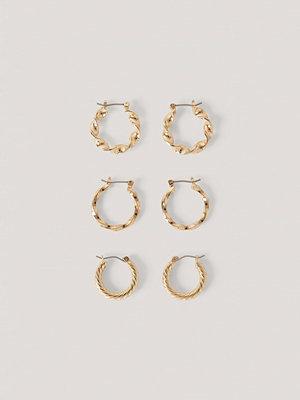 NA-KD Accessories smycke 3-Pack Blandade Hoops guld