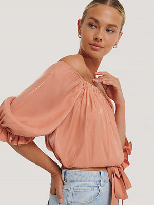 Rut & Circle Off Shoulder-Blus orange
