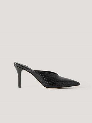 Pumps & klackskor - NA-KD Shoes Spetsiga Mules Med Fyrkantig Häl svart