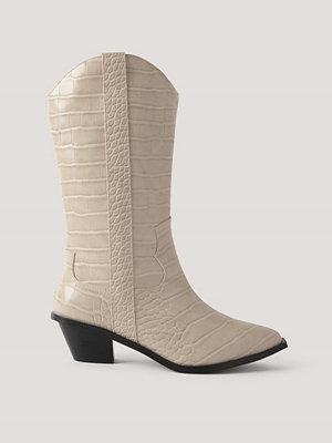 NA-KD Shoes Raka Cowboyboots Med Krokodilmönster beige