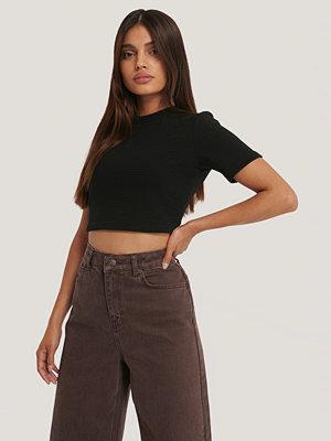 NA-KD Ribbad, Croppad T-Shirt svart