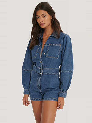 Jumpsuits & playsuits - NA-KD Playsuit I Denim Med Puffärm blå