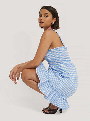 Trendyol Rutig Miniklänning blå
