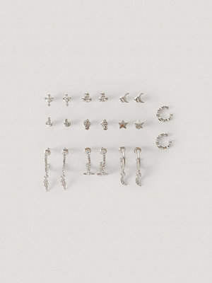 NA-KD Accessories smycke 10-Pack Set Med Studs Och Cuffs silver