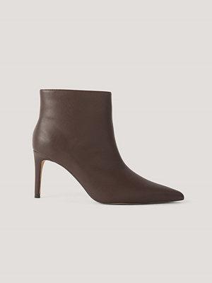 NA-KD Shoes Smala, Spetsiga Stilettboots brun
