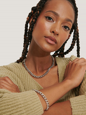 NA-KD Accessories smycke Chunky Chain Necklace and Bracelet silver