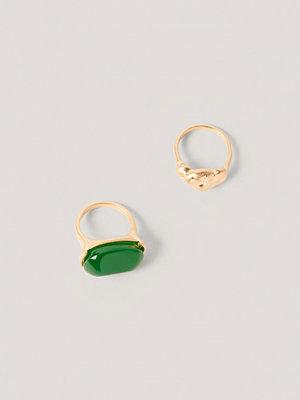 NA-KD Accessories smycke Dubbelpack Ringar Med Grön Sten guld